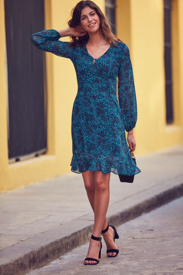 Dark Aqua Animal Print Fit & Flare Dress