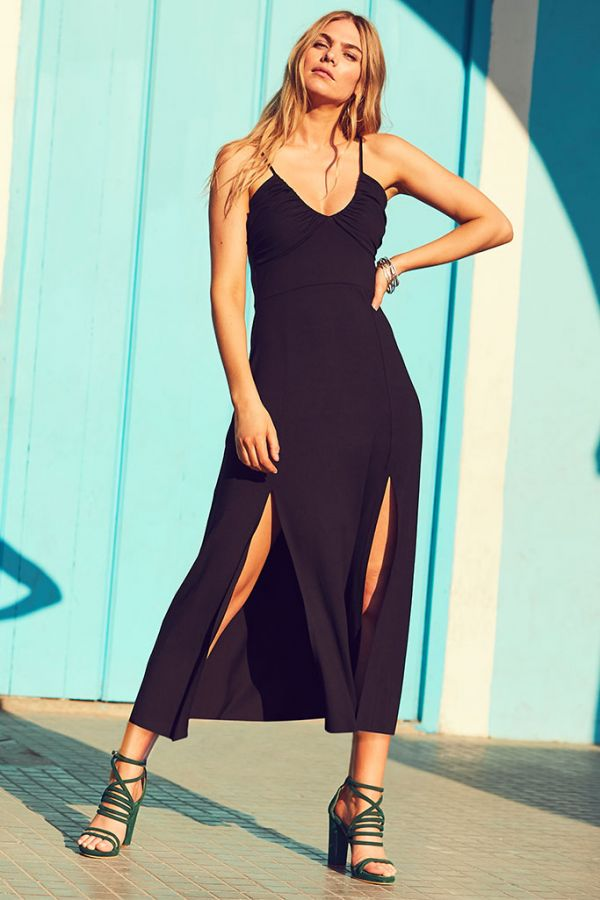 Black Split Detail Maxi Dress