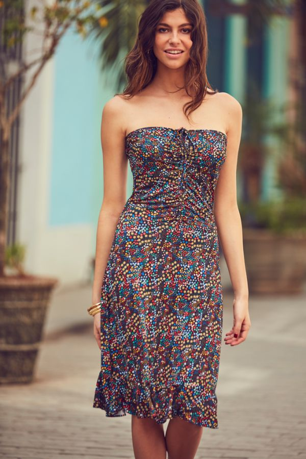 Black Ditsy Floral Print Halter Neck Dress