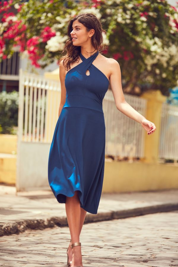 Blue Cross Front Halter Neck Dress