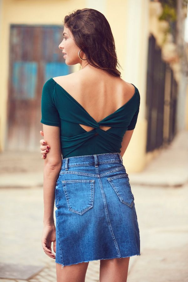 Teal Green Knot Back Detail Top