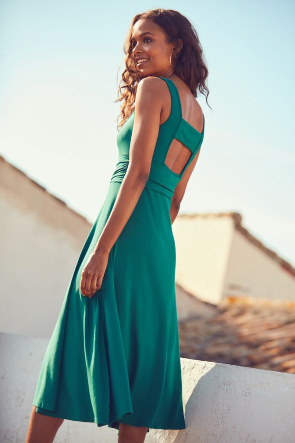Ocean Green Open Back Fit & Flare Dress
