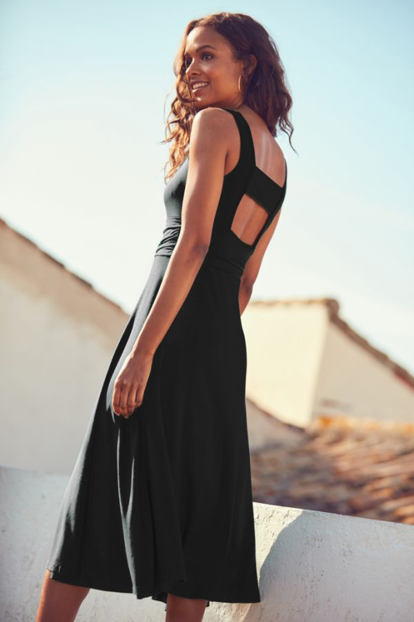 Black Open Back Fit & Flare Dress