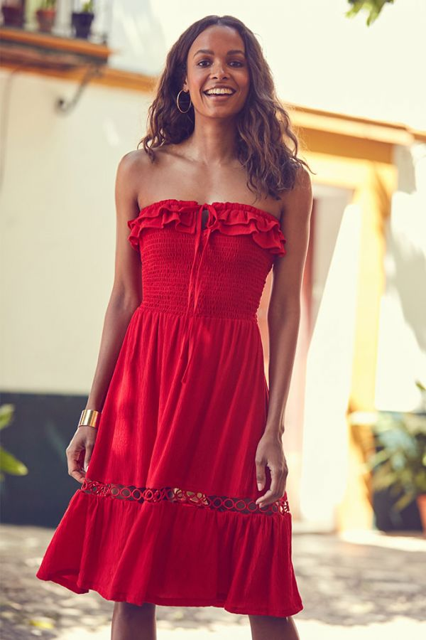 Rich Red Embroidered Hem Multiway Sun Dress