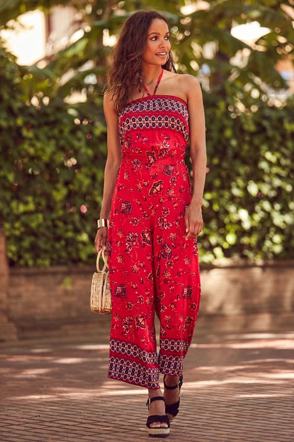 Red Paisley Print Tie Neck Jumpsuit