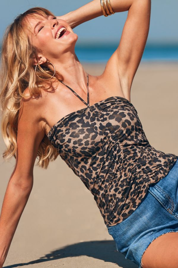Leopard Ruched Front Bandeau Top