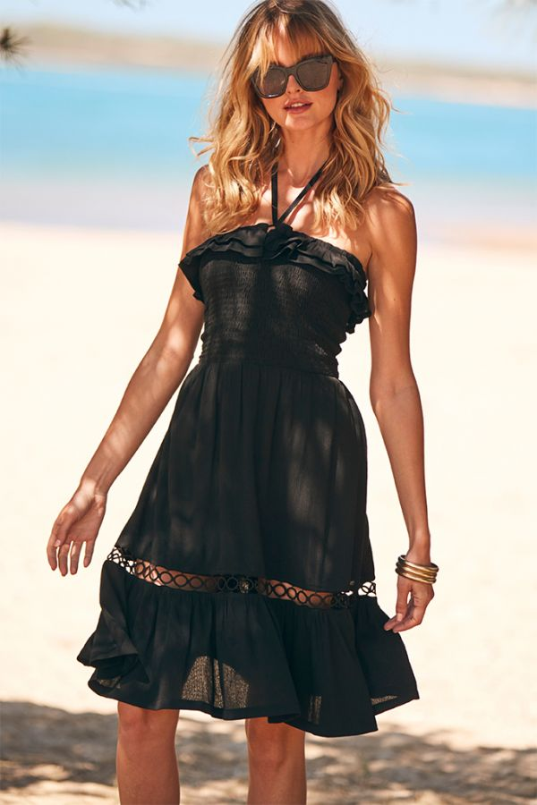 Black Embroidered Hem Multiway Sun Dress