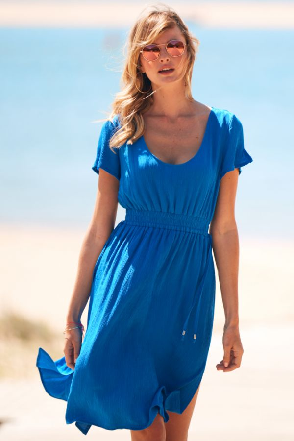 Ocean Blue Split Detail Midi Beach Dress