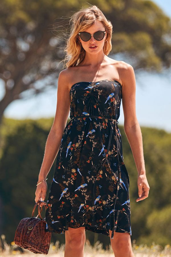 Black Parrot Print Bandeau Ruffle Hem Dress