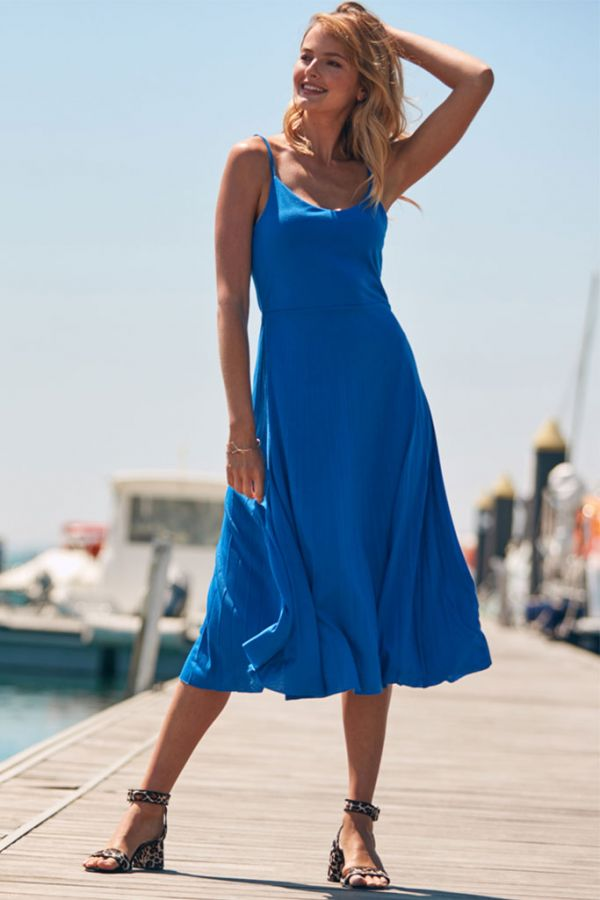 Ocean Blue Jersey Midi Pleated Dress