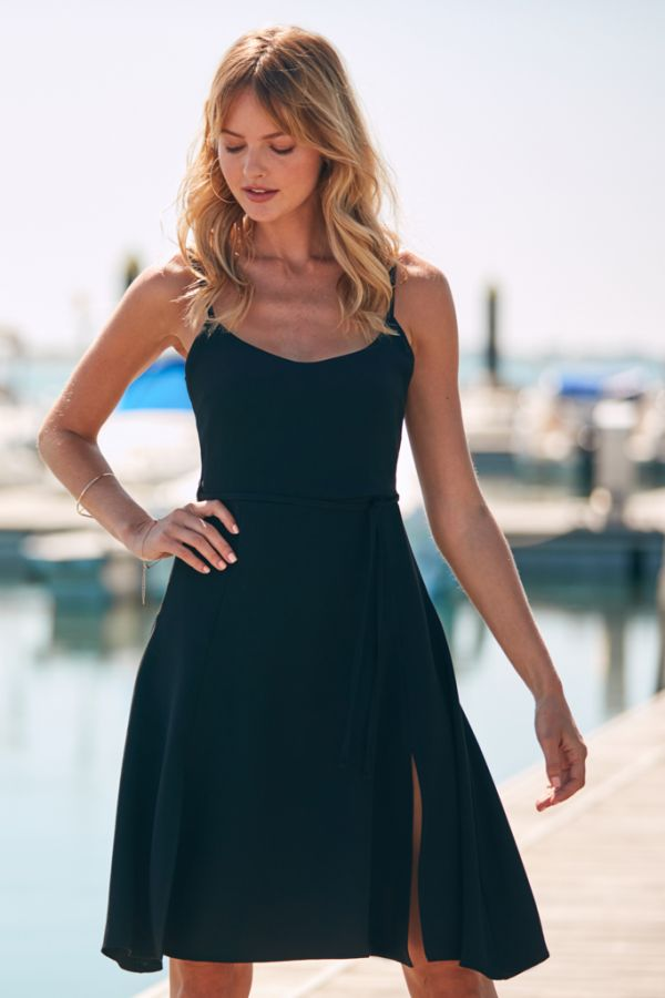 Black Waist Tie Fit & Flare Dress