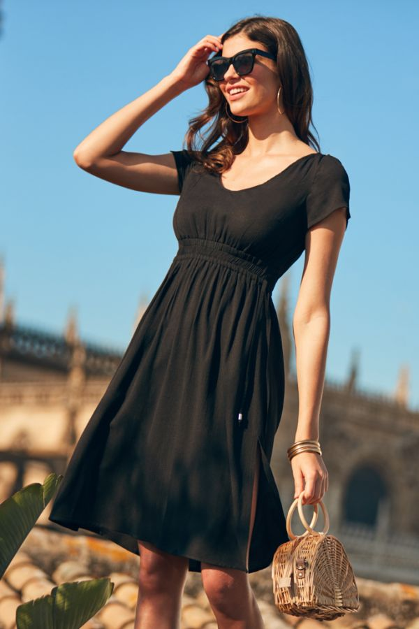 Black Split Detail Midi Beach Dress