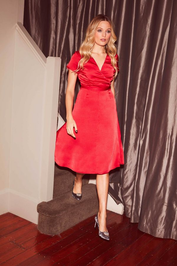 Red Fit & Flare Satin Dress
