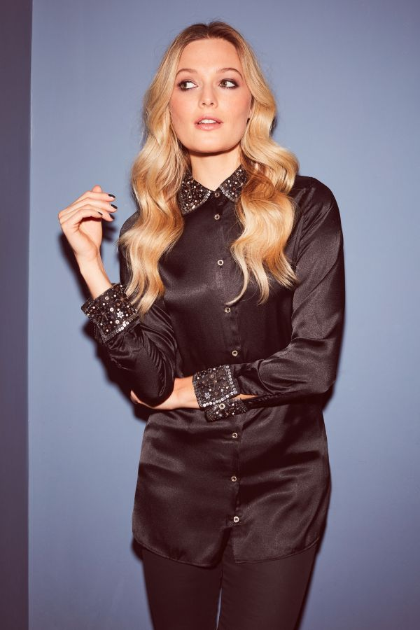 Black Embellished Collar & Cuff Satin Shirt