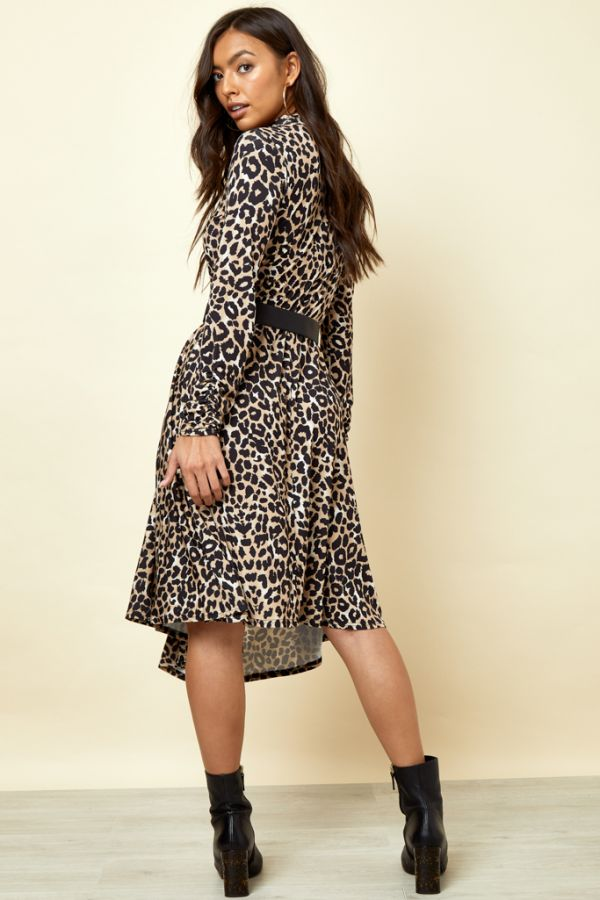 Leopard Print Asymmetric Hem Dress