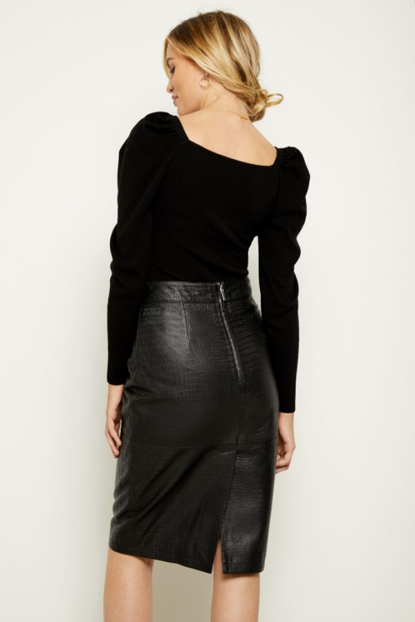 Black Leather Croc Print Buckle Detail Pencil Skirt