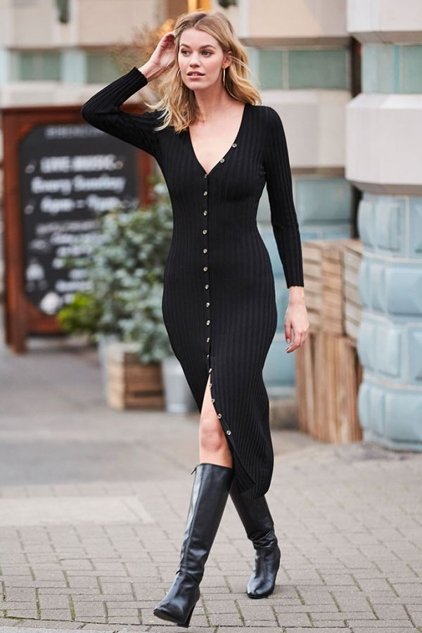 Black Button Through Ribbed Knitted Dress