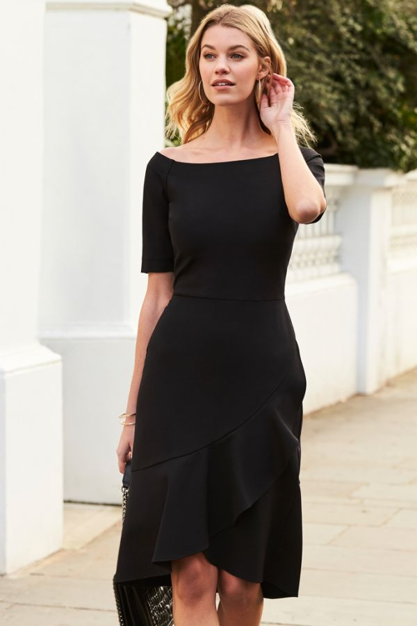 Black Asymmetric Ruffle Hem Dress