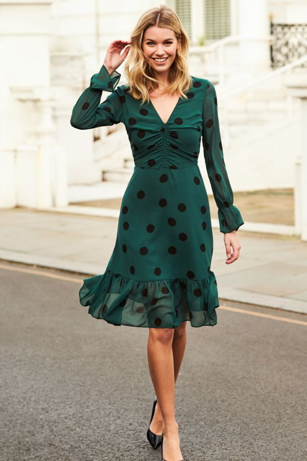 Green & Black Spot Fit & Flare Dress