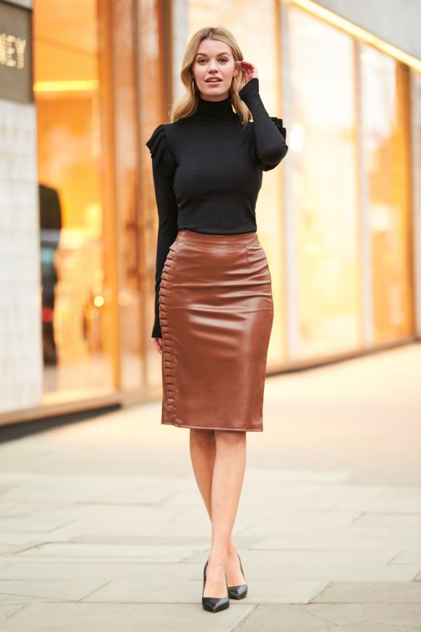 Brown Leather Look Ruffle Detail Skirt