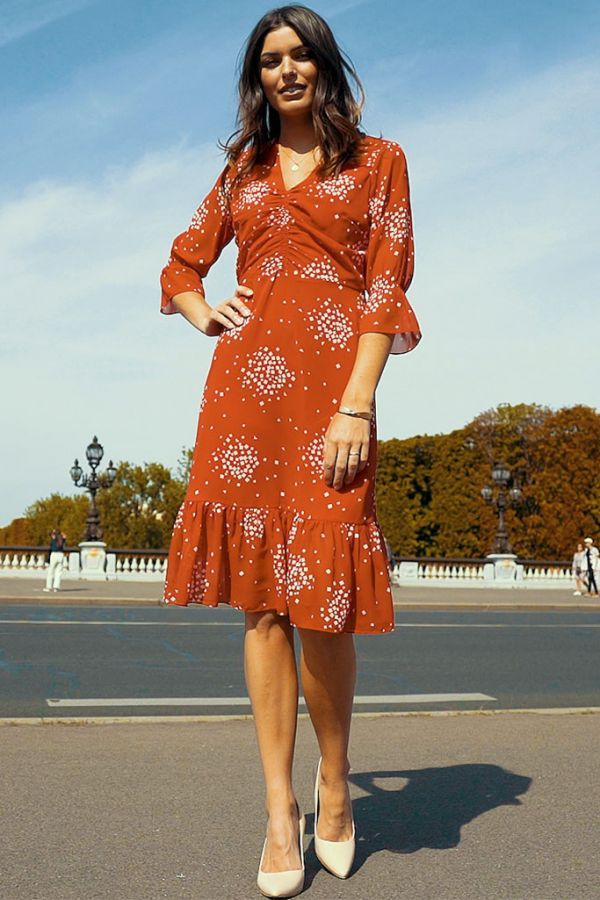 Red & White Constellation Print Fit & Flare Dress