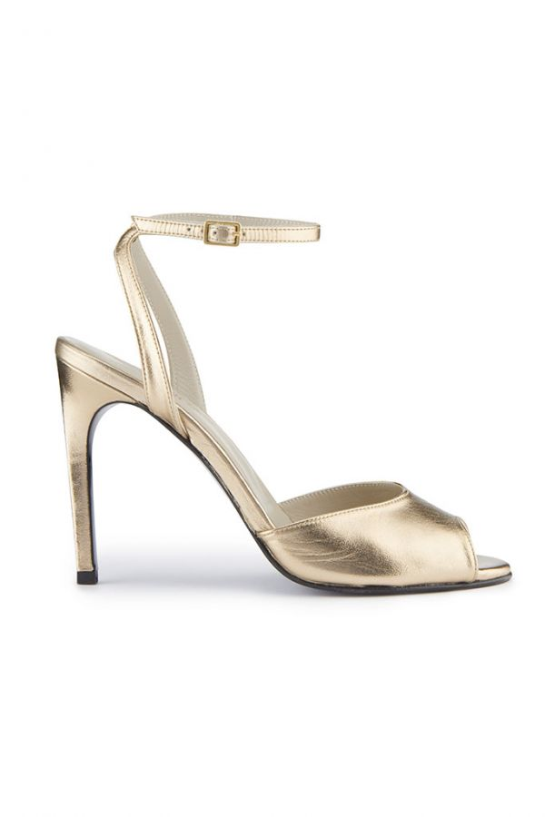 Gold Leather High Heel Sandal