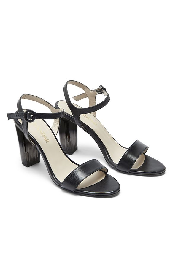 Black Leather Perspex Heel Sandal