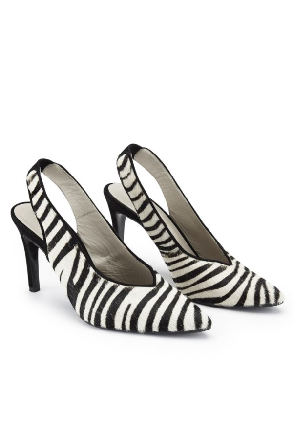 Zebra Print Leather Slingback Shoe