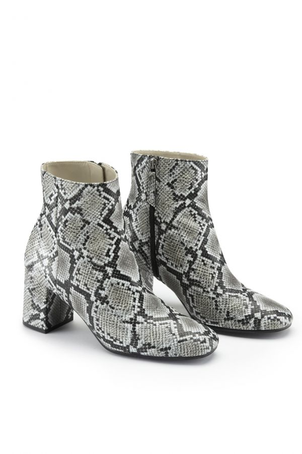 Snake Print Leather Ankle Boot