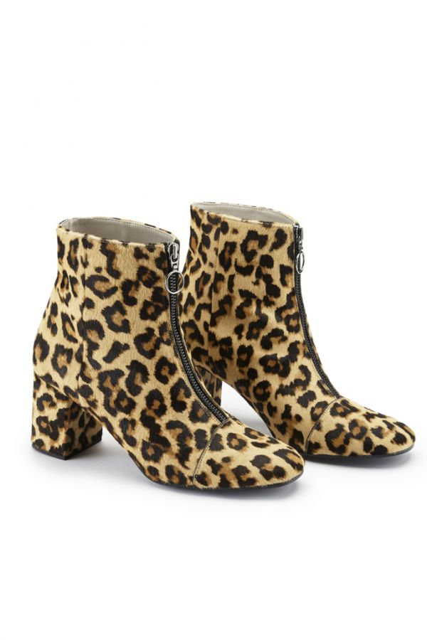 Leopard Print Leather Zip Ankle Boot
