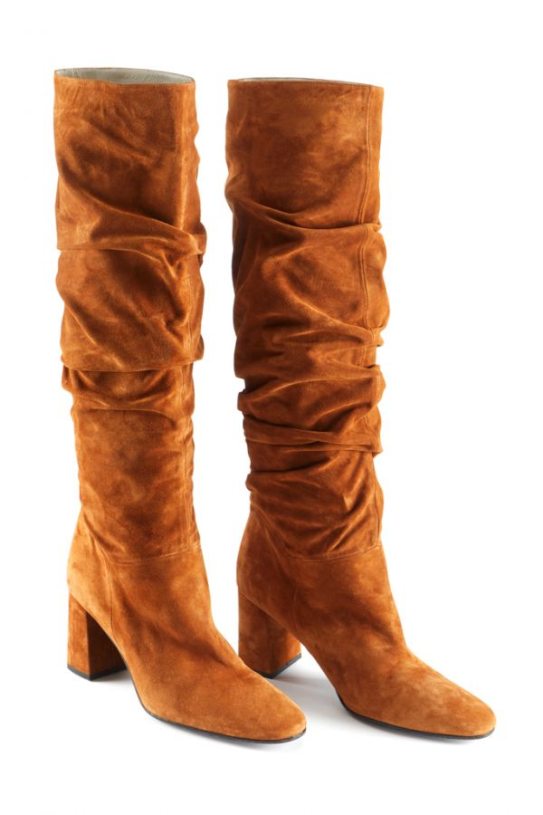 vast selection comfortable feel wholesale price Cognac Brown Suede Pull On Knee High Boot