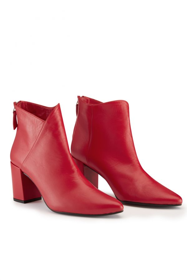 Red Leather Cross Over Boot