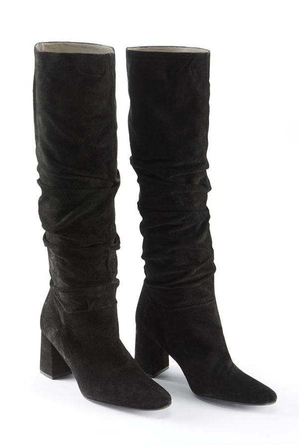 Black Suede Pull On Knee High Boot