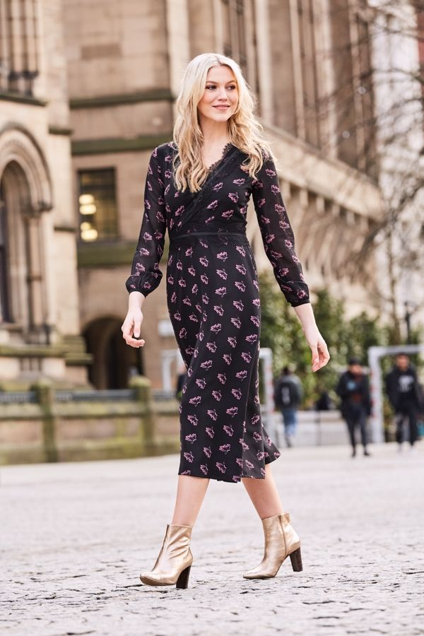 Black Butterfly Print Fit & Flare Dress