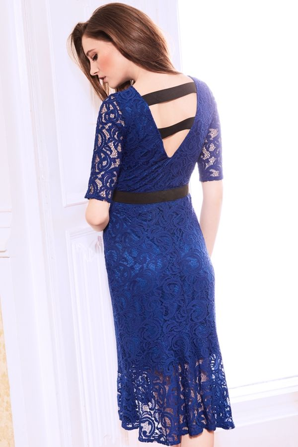Cobalt Blue Stretch Lace Dress