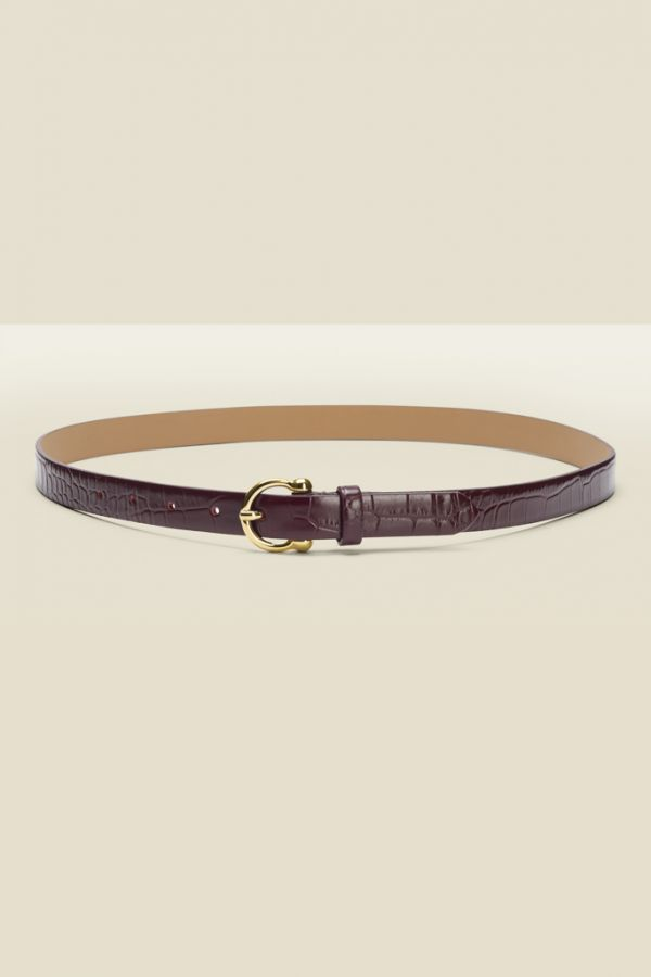 Burgundy Croc Leather Waist Belt With Gold Round Buckle