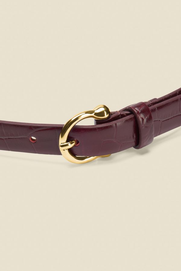 Burgundy Croc Leather Belt With Gold Round Buckle