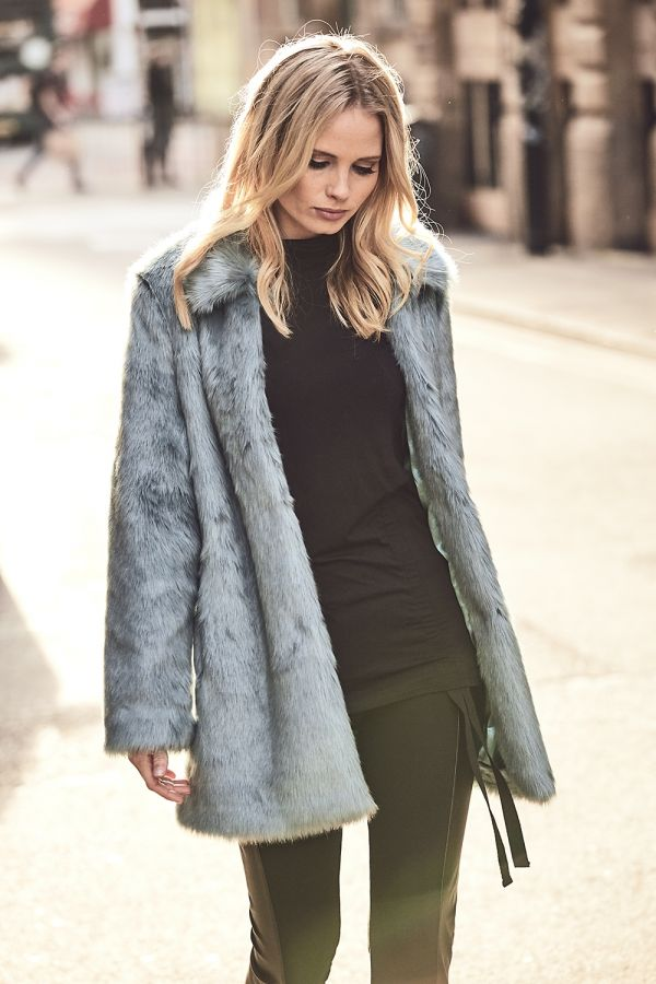 Ice Mint Green Faux Fur Coat