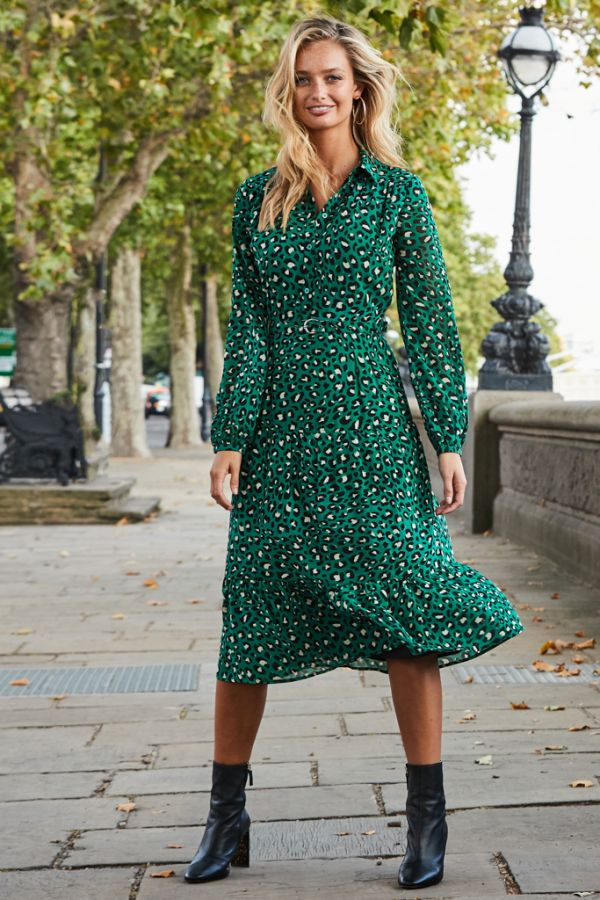 Green Leopard Print Tiered Shirt Dress