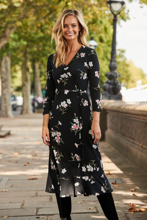 Black & White Floral Print Slinky Midi Dress
