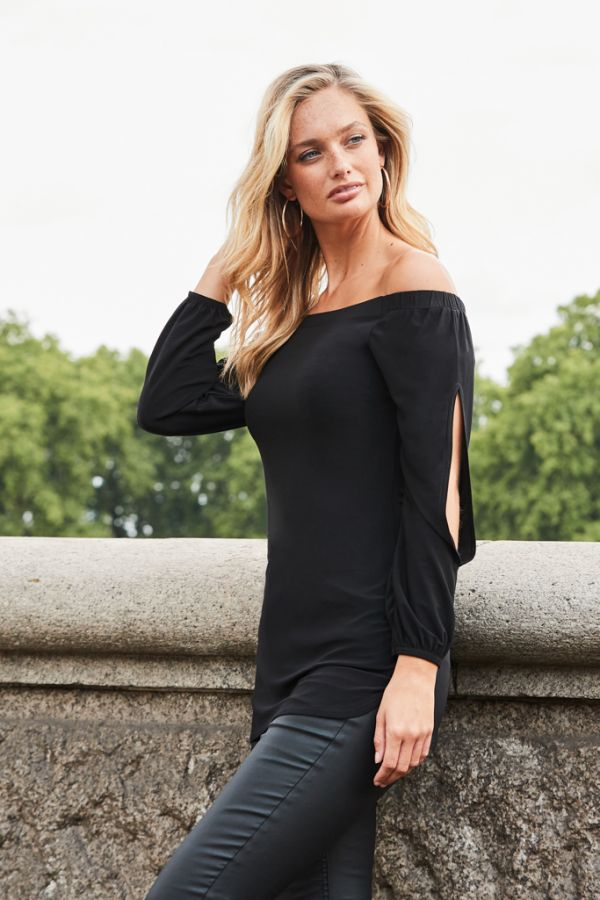 Black Bardot Split Sleeve Slinky Top