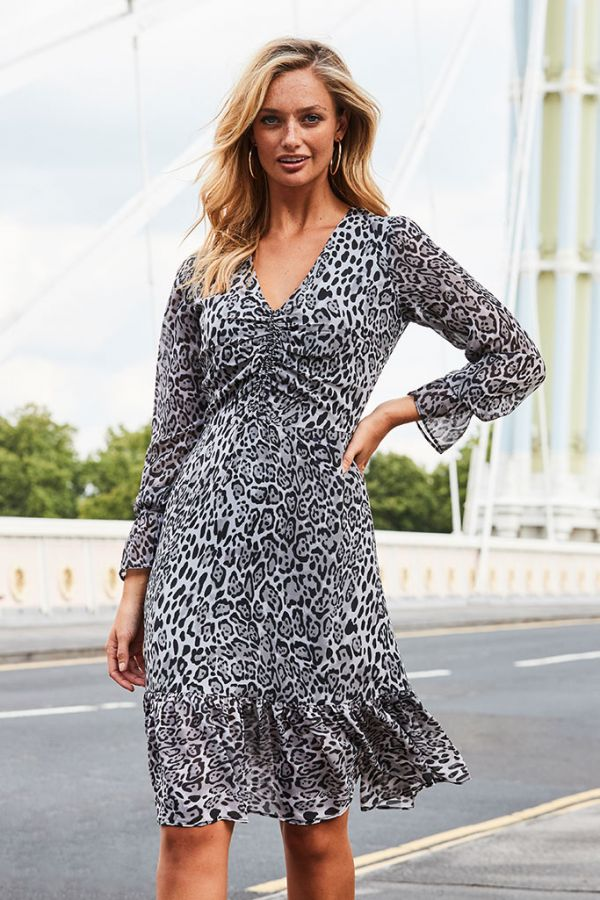 Snow Leopard Print Fit & Flare Dress