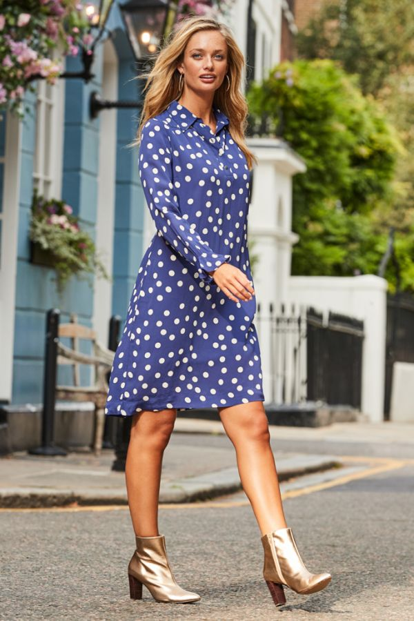 Blue & White Spot Print Shift Dress