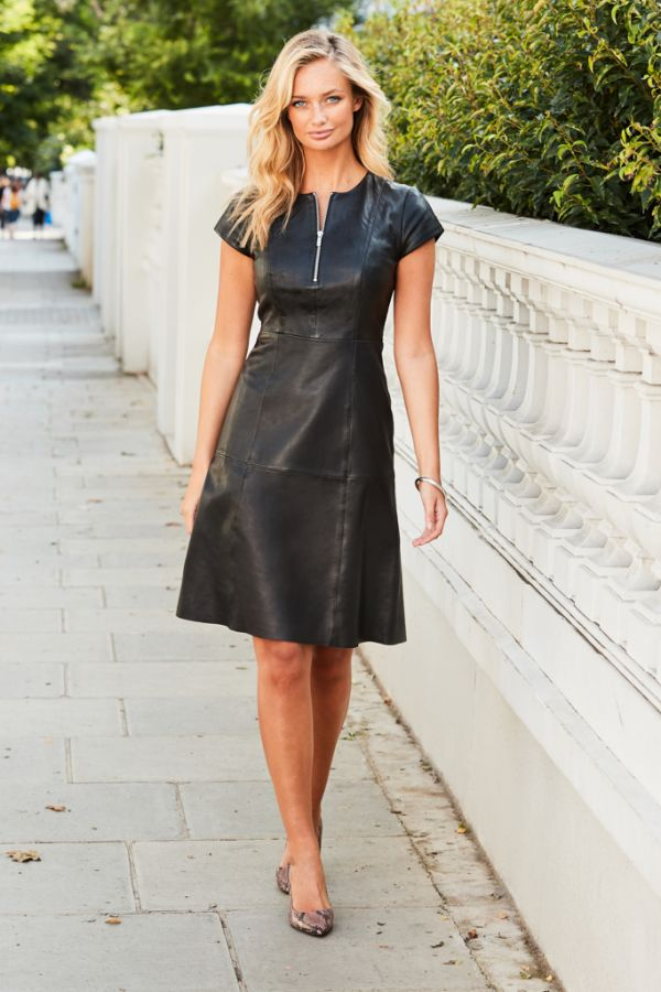 Black Luxury Leather Zip Front Fit & Flare Dress