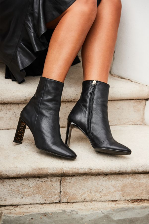 Alexa Black Leather Tortoiseshell Effect Heel Ankle Boot