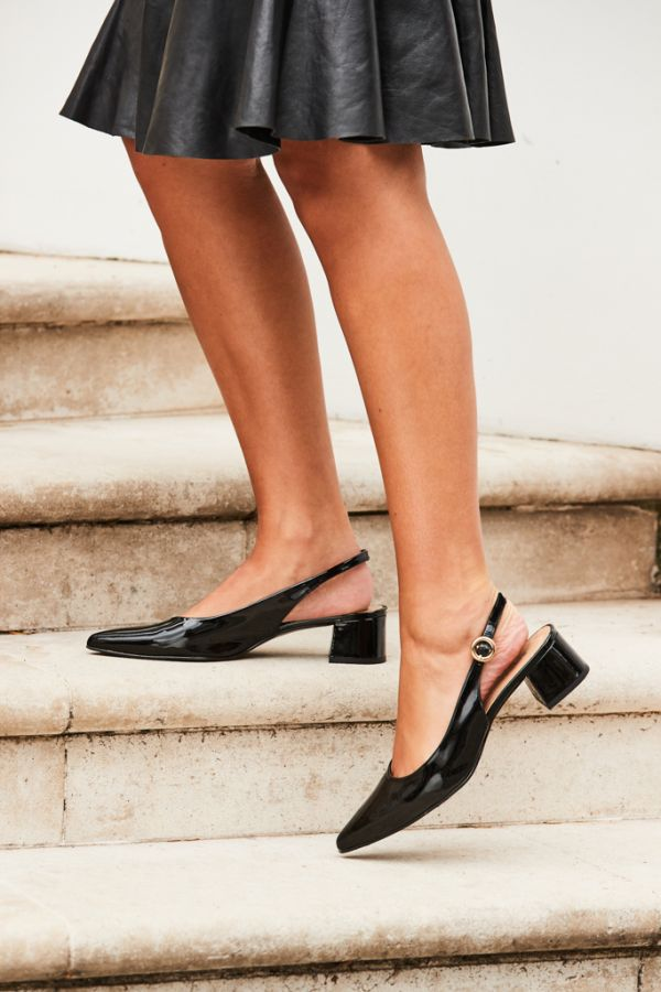 Glory Black Patent Leather Slingback Point Shoe