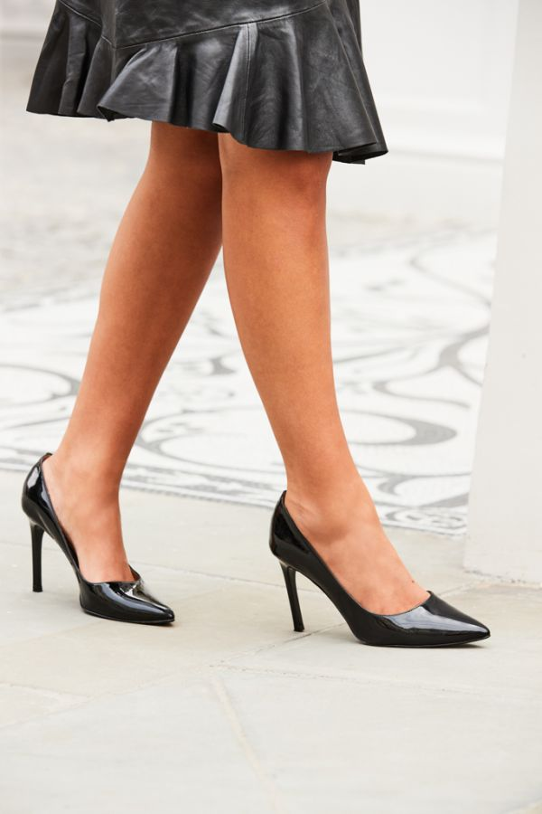 Cleo Black Patent Leather Court Shoe
