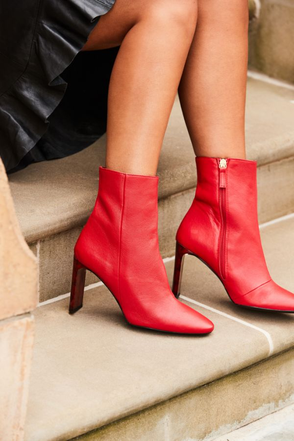 Alexa Red Leather Marble Effect Heel Ankle Boot