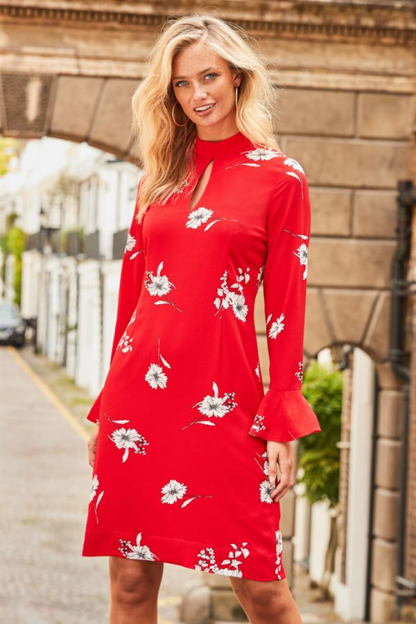 Red & White Floral Shift Dress
