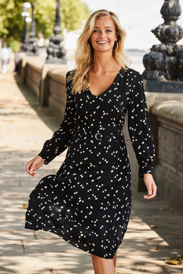 Black Polka Dot Belted Fit & Flare Dress
